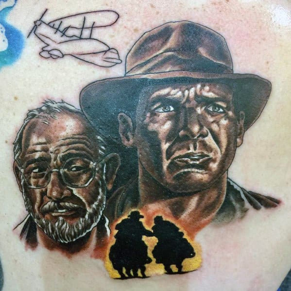 Guys Indiana Jones Tattoo Design Ideas On Chest