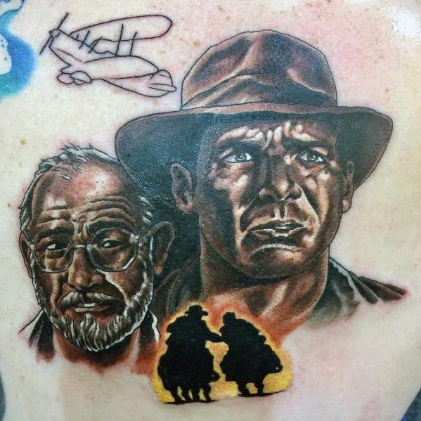 Guys Indiana Jones Tattoo Design Ideas On Chest