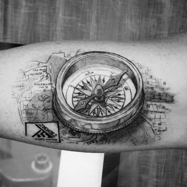Guys Inner Arm Bicep 26 2 Tattoo With Compass Map Design