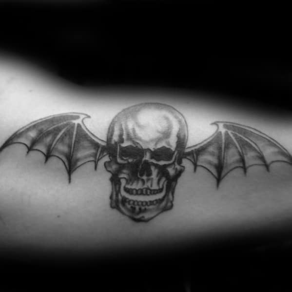 Guys Inner Arm Bicep Deathbat Tattoos