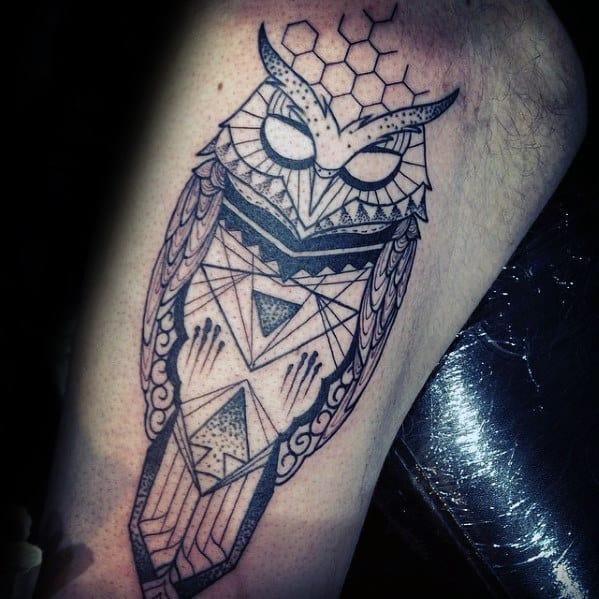Guys Inner Arm Bicep Geometric Owl Tattoos