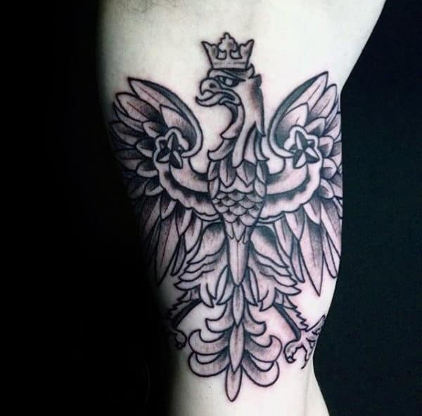 Guys Inner Arm Bicep Polish Eagle Tattoos