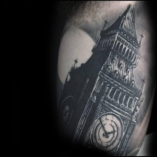 Guys Inner Arm Bicep Tattoo Ideas Big Ben Designs
