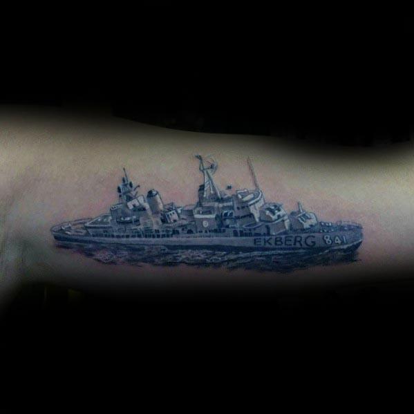 Guys Inner Arm Bicep Tattoos With Battleship Design