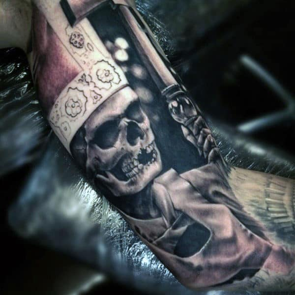 Guys Inner Arm Skeleton Tattoo Designs