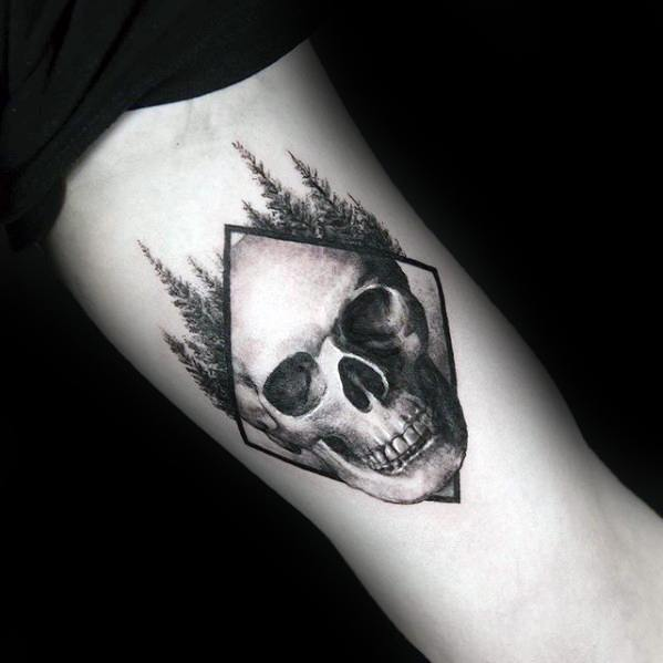 Guys Inner Arm Skull With Trees Detailed Small Tattoos