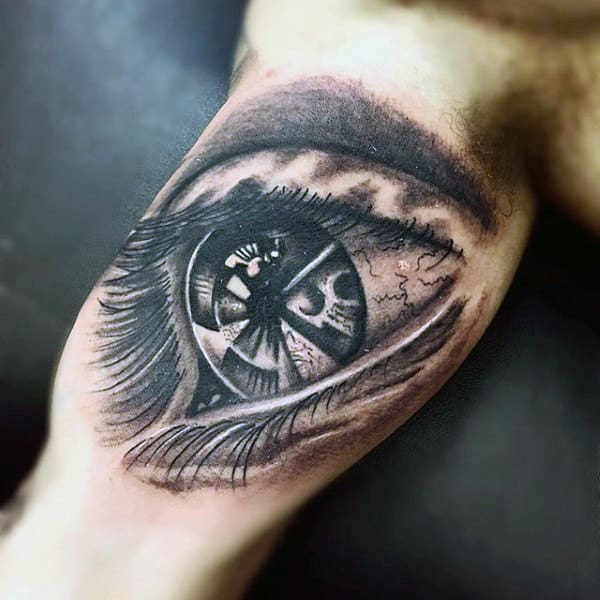 Guys Inner Biceps Eye Tattoo