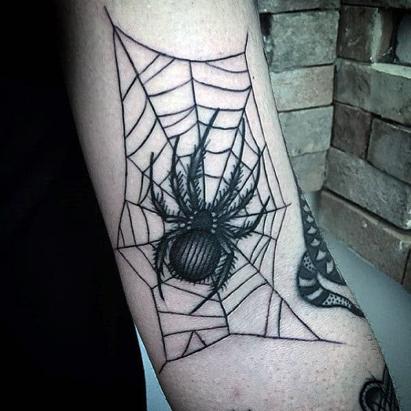 Spider Web Tattoo On The Elbow