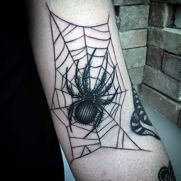 Guys Inner Elbow Spider Web Tattoo Ideas