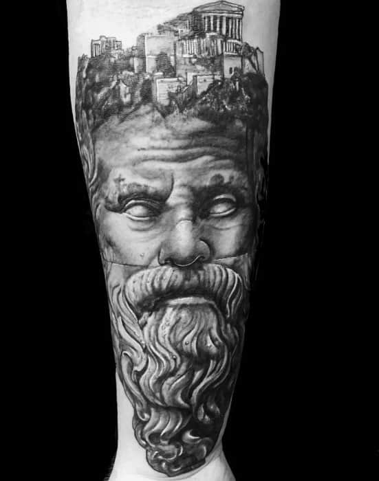 Guys Inner Forearm 3d Socrates Tattoo Design Ideas