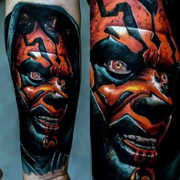 Guys Inner Forearm 3d Tattoo Ideas Darth Maul Designs