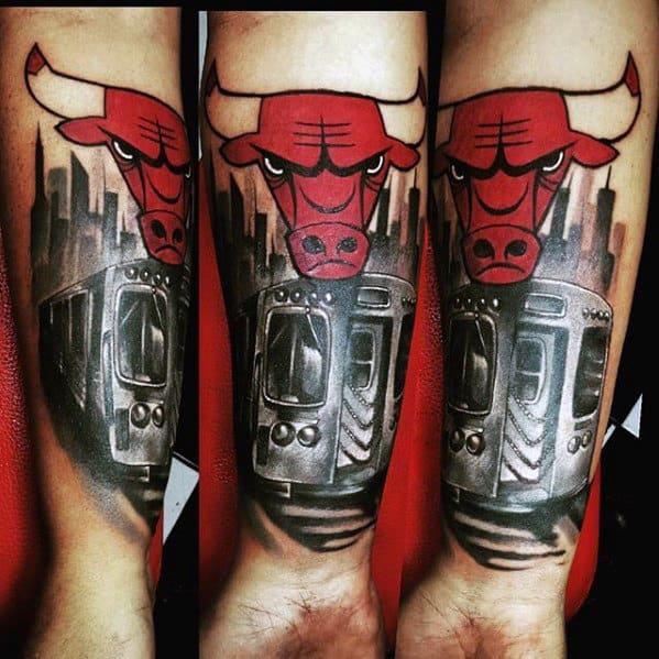 Guys Inner Forearm Chicago Bulls Skyline Tattoo
