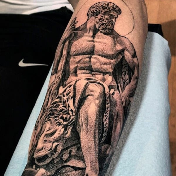 Guys Inner Forearm Hercules Tattoo