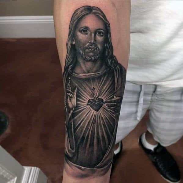 Guys Inner Forearm Jesus With Radiant Sacred Heart Tattoo