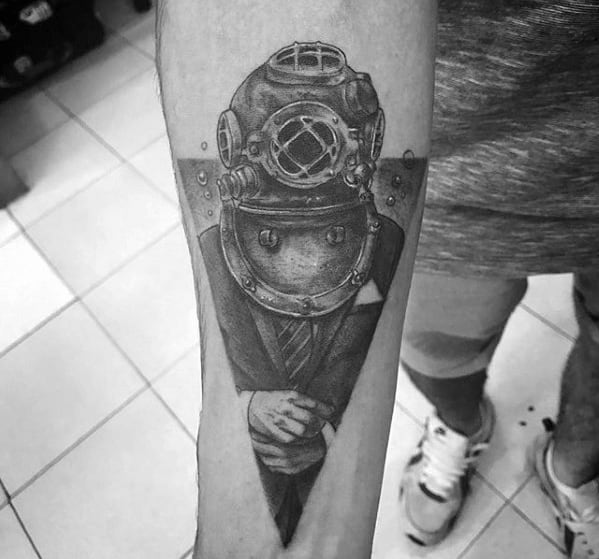 Guys Inner Forearm Man In Suit Wearing Diving Helmet Tattoo