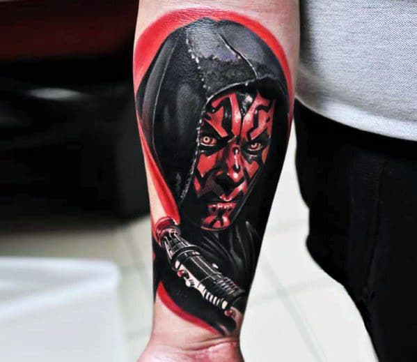 Guys Inner Forearm Wrist Realistic Tattoos With Darth Maul Design