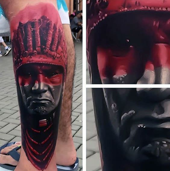Guys Insane Red Ink Native American Indian Leg Tattoo