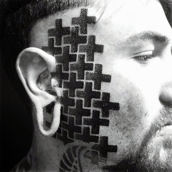 Guys Interesting Geometrical Black Cross Tattoo On Face