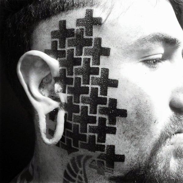 Guys Interesting Geometrical Black Cross Tattoo On Face