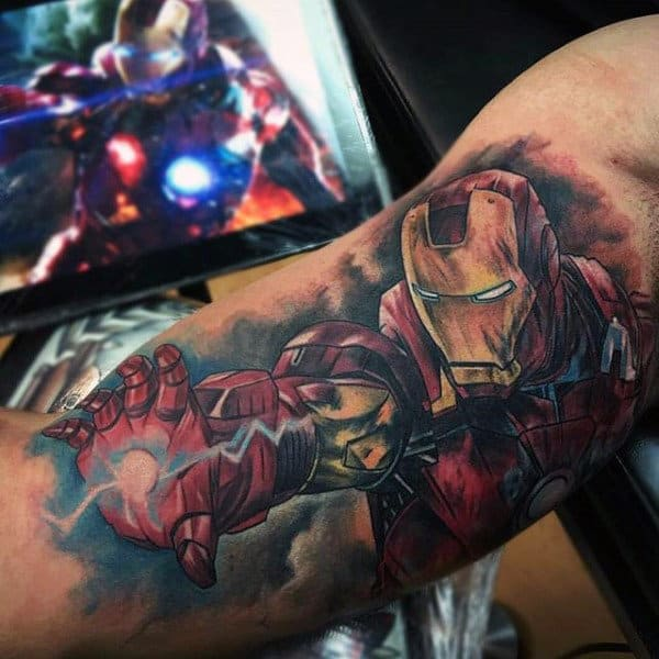 Guys Iron Man Video Game Bicep Tattoos