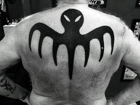 Guys James Bond Logo Upper Back Solid Black Ink Octopus Tattoos