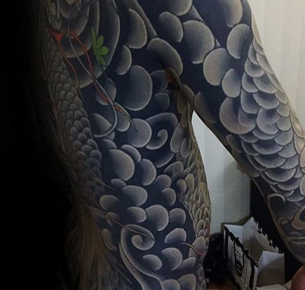 Guys Japanese Clouds Back Tattoo