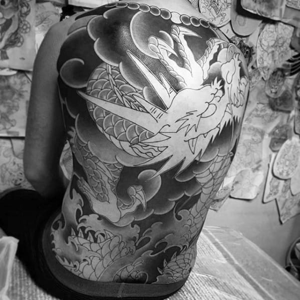 Guys Japanese Shaded Dragon Black And Grey Full Back Tattoo Ideas