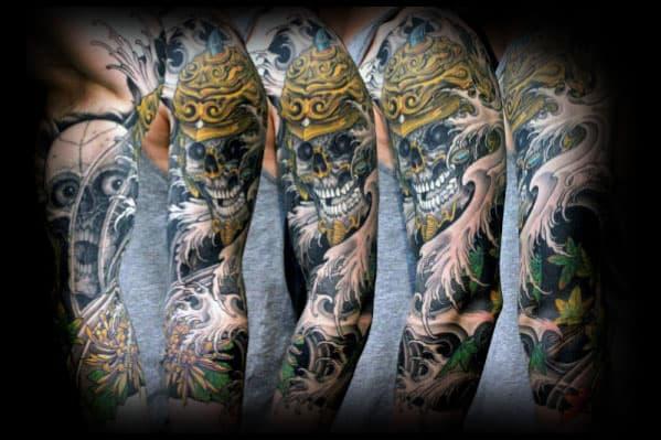 Guys Japanese Skull Gold Helmet Half Sleeve Tattoo