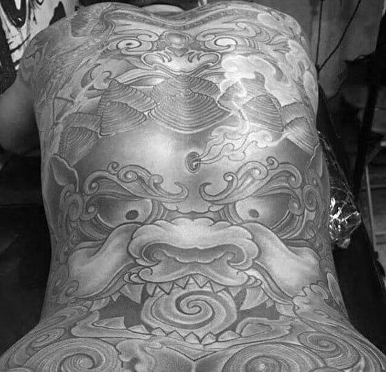 Guys Japanese Traditional Shaded Fu Dog Back Tattoo Ideas