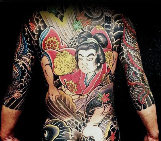 Guys Japanese Traditional Tattoo Design On Full Back