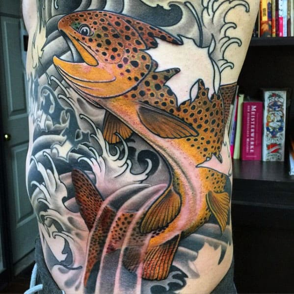Guys Japanese Trout Fish Rib Cage Side Tattoo Designs