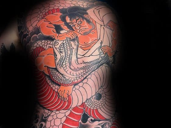 Guys Japanese Warrior Battling Snake Tattoo On Back