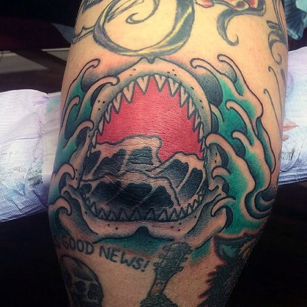 Guys Japanese Waves Shark Jaw Elbow Tattoos