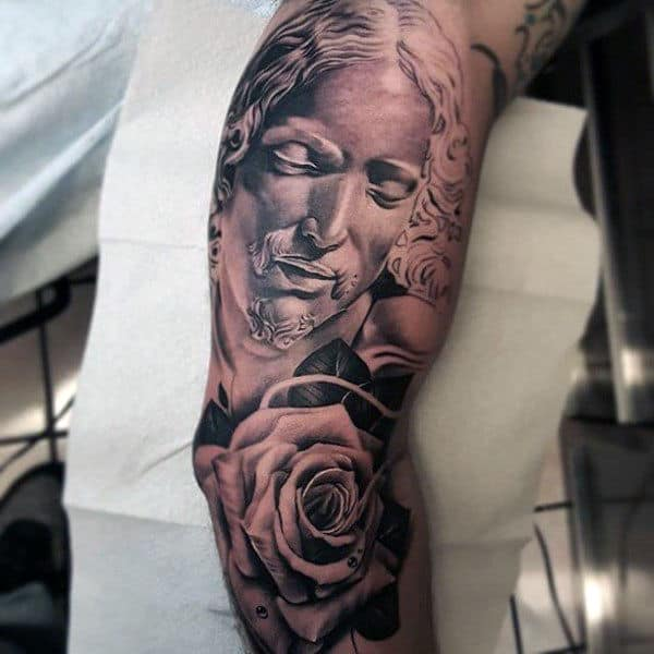 Guys Jesus Arm Tattoo With Rose Flower