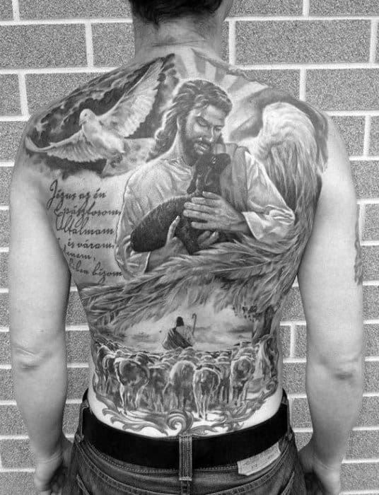 Guys Jesus Holding Lamb Christian Full Back Tattoo