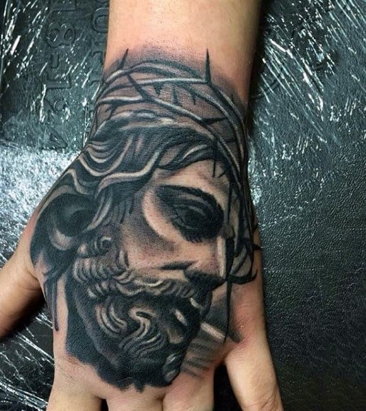 Guys Jesus Portrait With Thorns Hand Tattoo