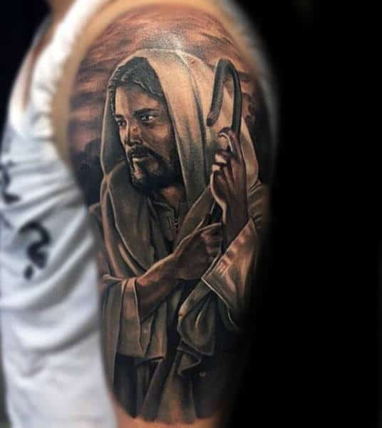 Guys Jesus Shepherd Half Sleeve Tattoo Designs
