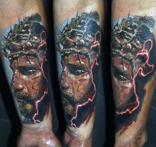 Guys Jesus With Crown Of Thorns Inner Forearm Tattoo Designs