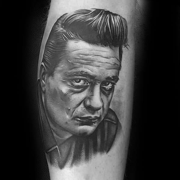 Guys Johnny Cash Tattoo Portrait Deisgns On Side Of Leg