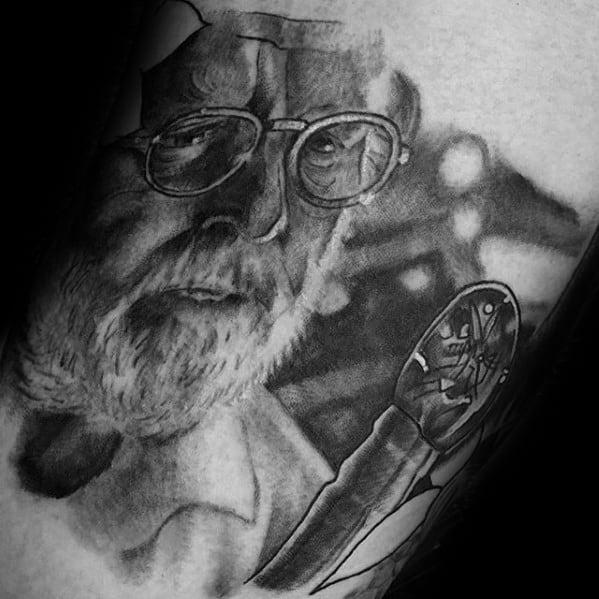 Guys Jurassic Park John Hammond Arm Tattoo Deisgns