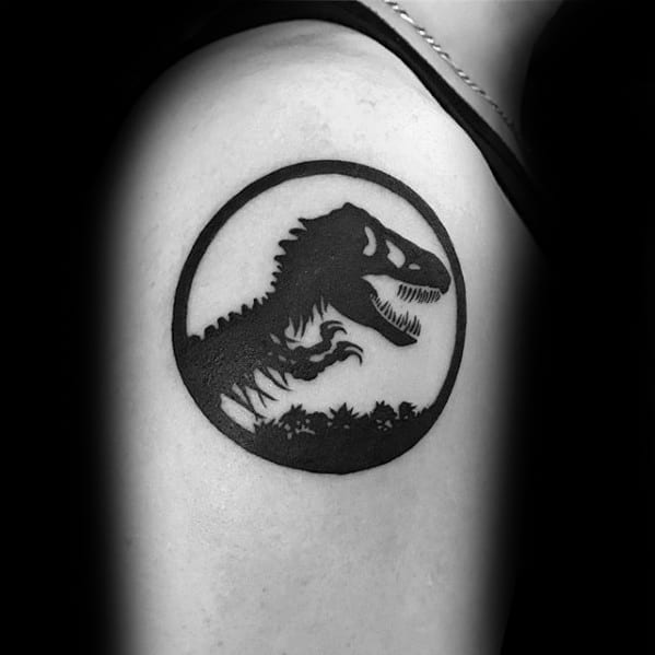 Guys Jurassic Park Logo Upper Arm Black Ink Tattoos