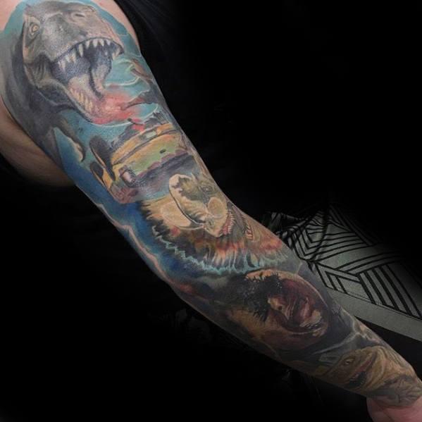 Guys Jurassic Park Themed Full Arm Sleeve Tattoo Design Ideas