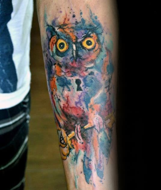 Guys Keyhole Watercolor Owl Tattoo Design Ideas