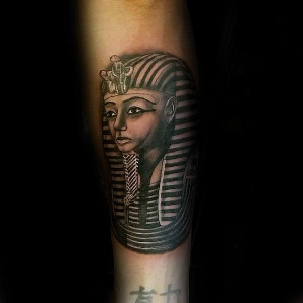 Guys King Tut Inenr Forearm Tattoo Ideas