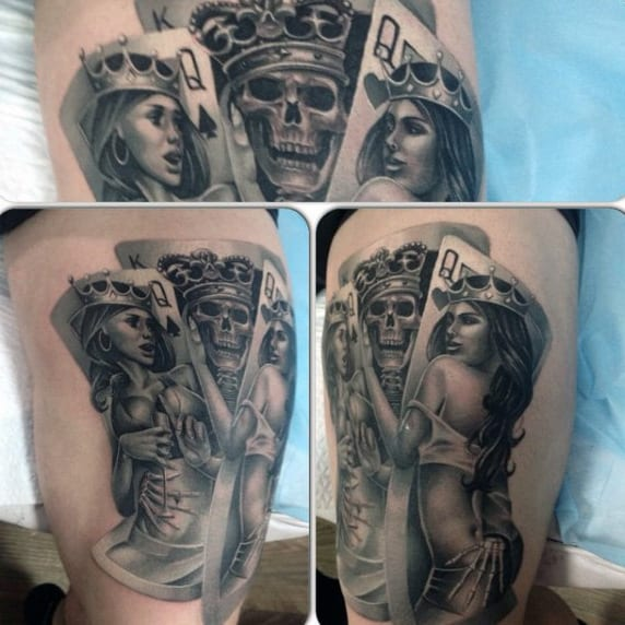 836d87e31fde8 Guys King With Playing Card Females Arm Tattoo Design