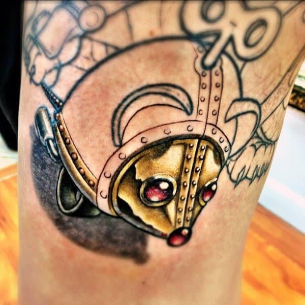 Guys Knees Mettalic Gold Tipped Steampunk Tattoo
