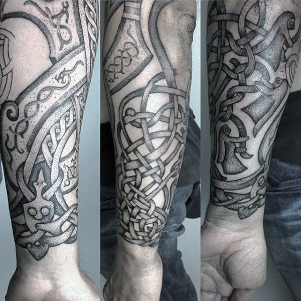 Guys Knots Celtic Sleeve Tattoo With Detailed Dotwork Art Style