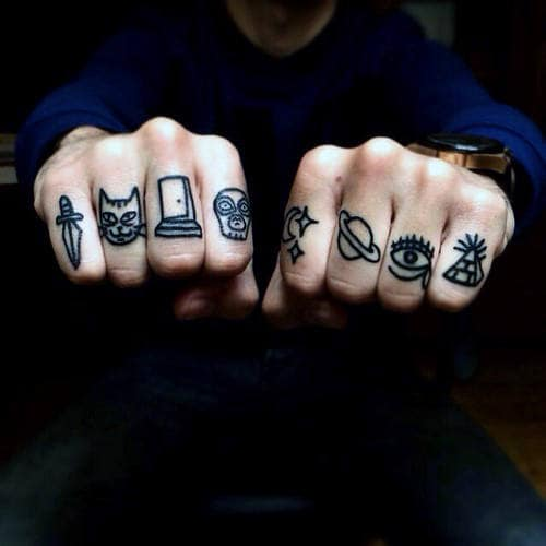 Guys Knuckle Tattoo With All Seeing Eye And Cool Symbols