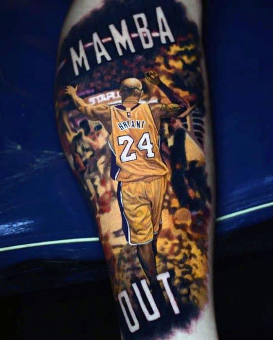 Guys Kobe Bryant 3d Leg Mamba Out Tattoos