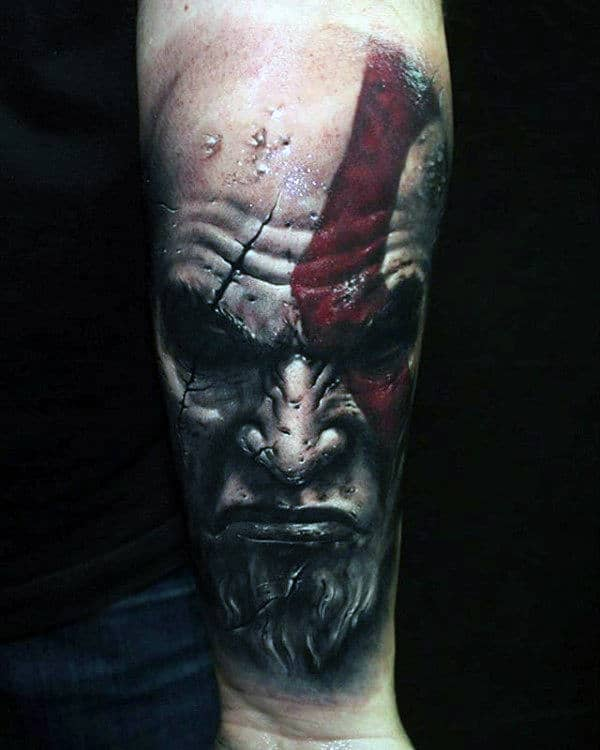 30 kratos tattoo designs for men god of war ink ideas